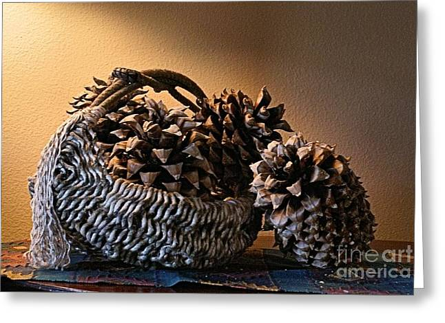 Pine Cones Pyrography Greeting Cards - Still life Greeting Card by Joanna Thompson