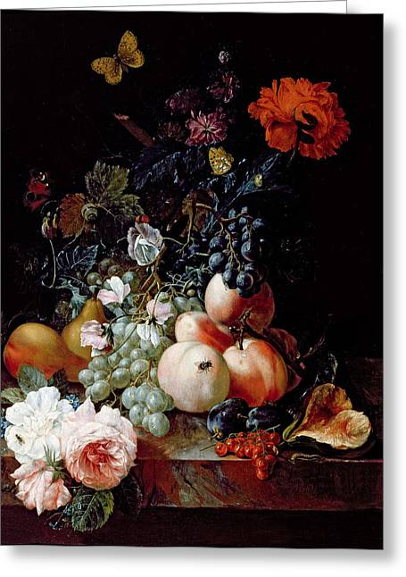 Peaches Greeting Cards - Still Life  Greeting Card by Johann Amandus Winck