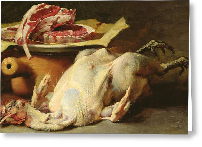 Chicken Greeting Cards - Still Life of a Chicken and Cutlets Greeting Card by Guillaume Romain Fouace