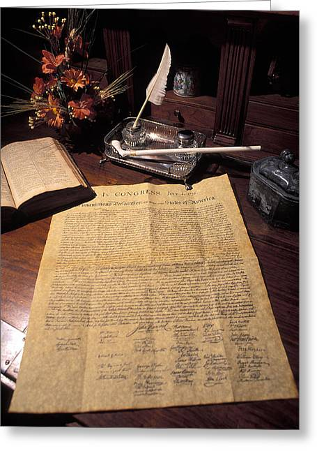 Feather Pen Greeting Cards - Still Life Of A Copy Of The Declaration Greeting Card by Richard Nowitz