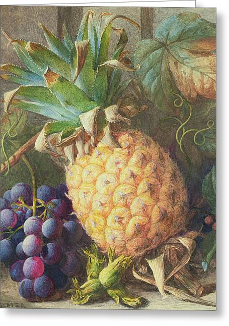 Still Life Of A Pineapple And Grapes  Greeting Card by Charles H Slater