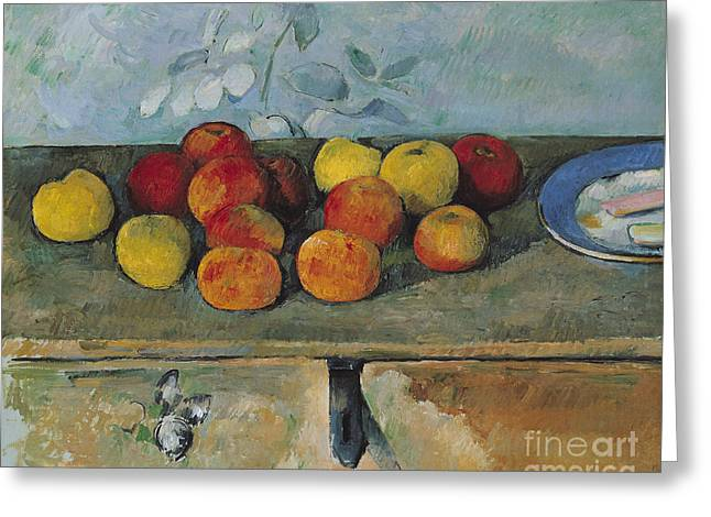 Chest Greeting Cards - Still life of apples and biscuits Greeting Card by Paul Cezanne