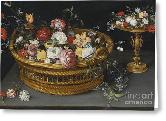 Gilt Cup Greeting Cards - Still Life Of Flowers In A Basket And Flowers Greeting Card by Philips de Marlier