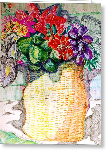 Jame Hayes Greeting Cards - Still Life of Flowers Greeting Card by Jame Hayes