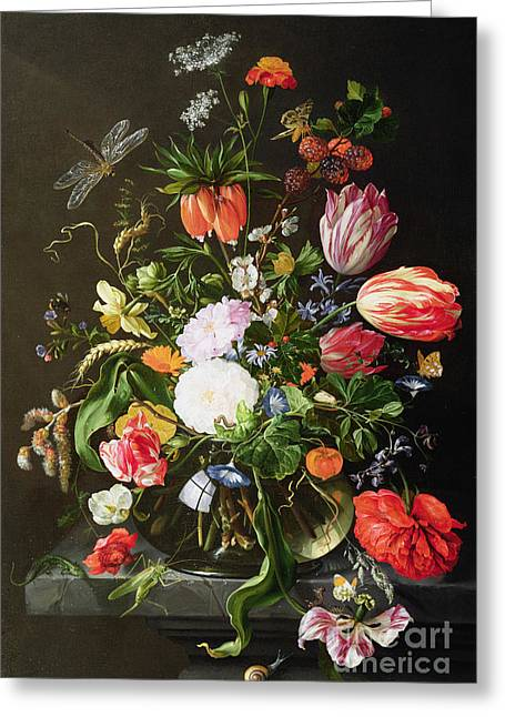Dragonflies Greeting Cards - Still Life of Flowers Greeting Card by Jan Davidsz de Heem