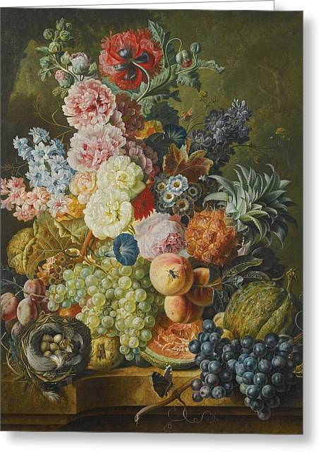 Fruit And Flowers Greeting Cards - Still Life Of Fruits And Flowers Greeting Card by Paul Theodor Van Brussel