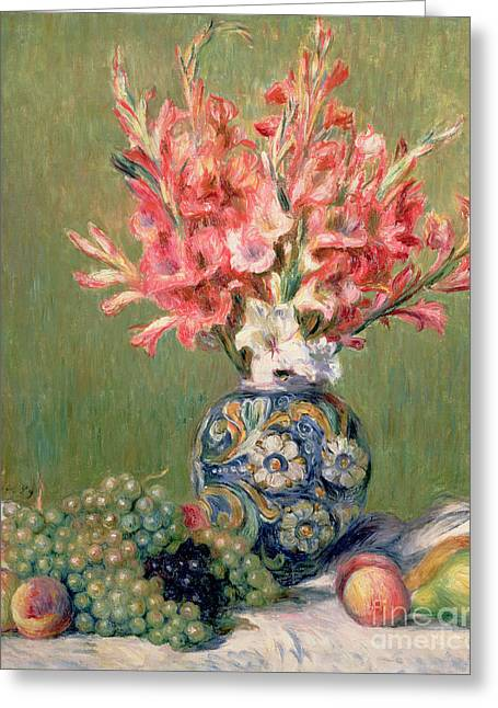 Gladiolus Greeting Cards - Still life of Fruits and Flowers Greeting Card by Pierre Auguste Renoir