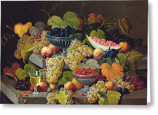 Still Life Of Melon Plums Grapes Cherries Strawberries On Stone Ledge Greeting Card by Severin Roesen