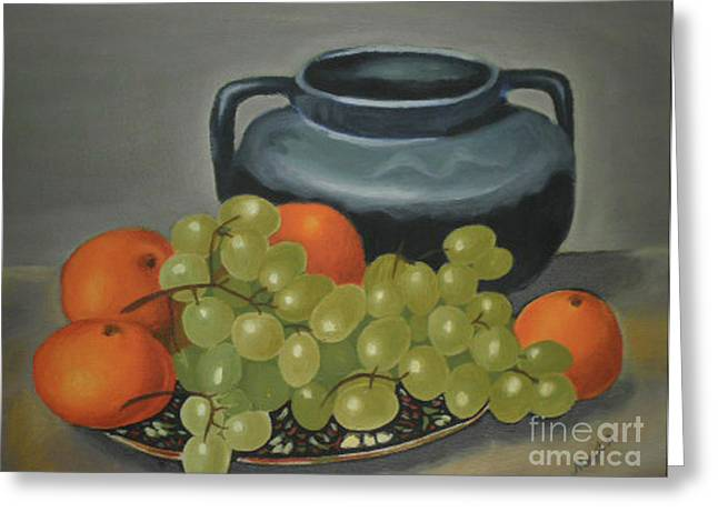 Still Life With Pitcher Paintings Greeting Cards - Still Life of Oranges and Grapes Greeting Card by Margit Armbrust