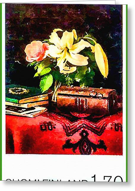 1987 Paintings Greeting Cards - Still Life on a Ladys Work Table Greeting Card by Lanjee Chee