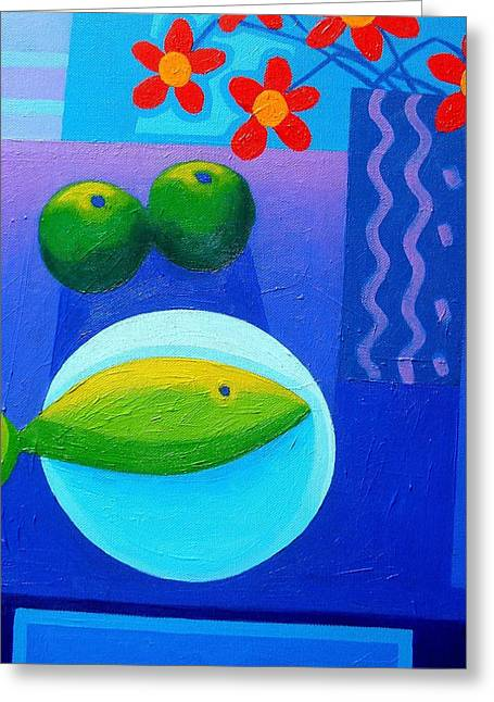 Apple Art Greeting Cards - Still Life On Table Greeting Card by John  Nolan