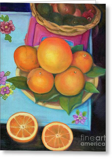 Still Life Oranges And Grapefruit Greeting Card by Marlene Book