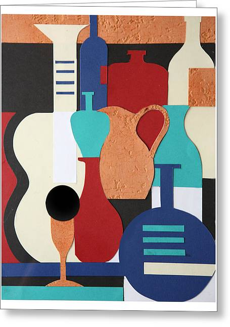 Tumbler Greeting Cards - Still life paper collage of wine glasses bottles and musical instruments Greeting Card by Mal Bray