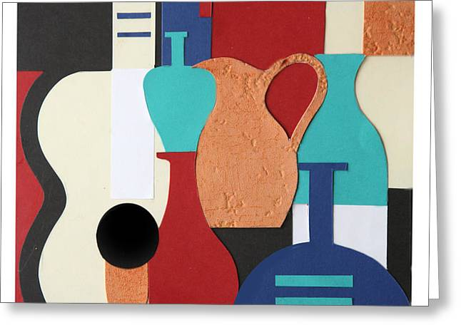Still life paper collage of wine glasses bottles and musical instruments Greeting Card by Mal Bray