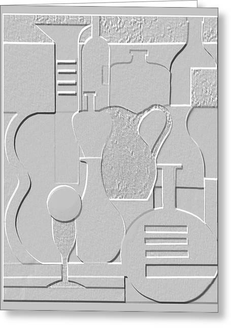 Jugs Reliefs Greeting Cards - Still Life Paper Relief Greeting Card by Mal Bray