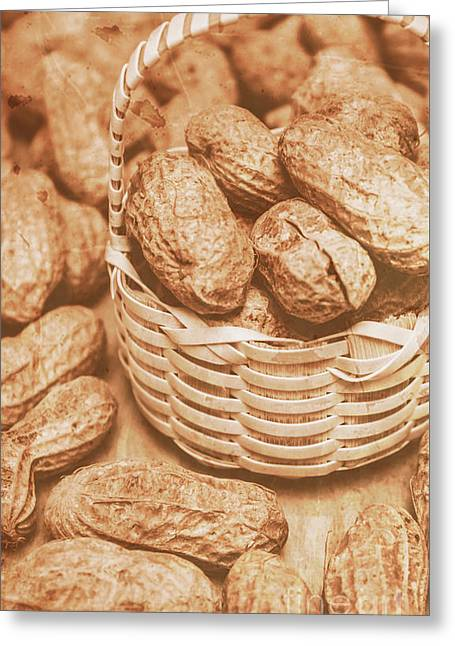 Still Life Peanuts In Small Wicker Basket On Table Greeting Card by Jorgo Photography - Wall Art Gallery