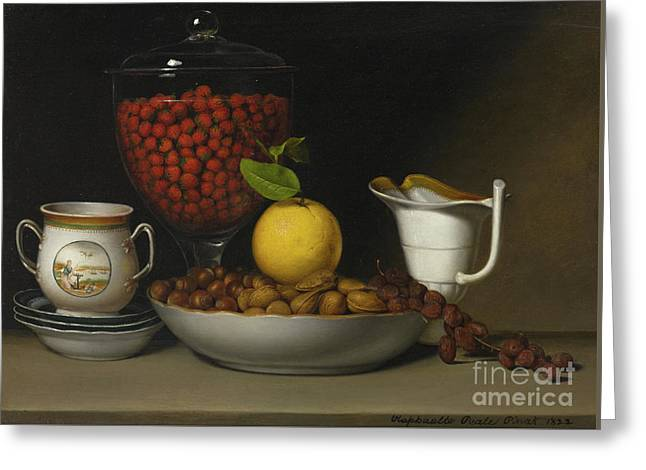 Still Life   Strawberries, Nuts Greeting Card by Raphaelle Peale