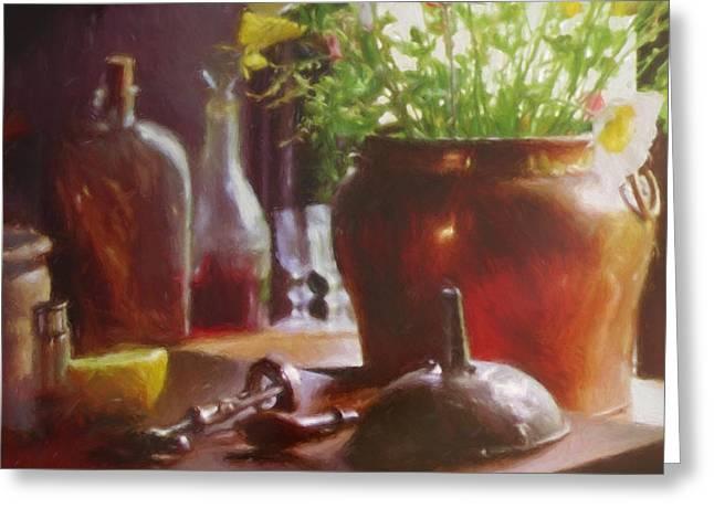 Interior Still Life Greeting Cards - Still Life Table Greeting Card by Impressionist Art