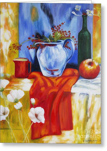 Apple Paintings Greeting Cards - Still Life Greeting Card by Veikko Suikkanen
