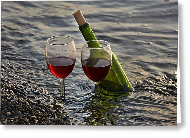 Long Stem Wine Glass Photographs Greeting Cards - Still Life Wine at the Beach Greeting Card by Valerie Garner