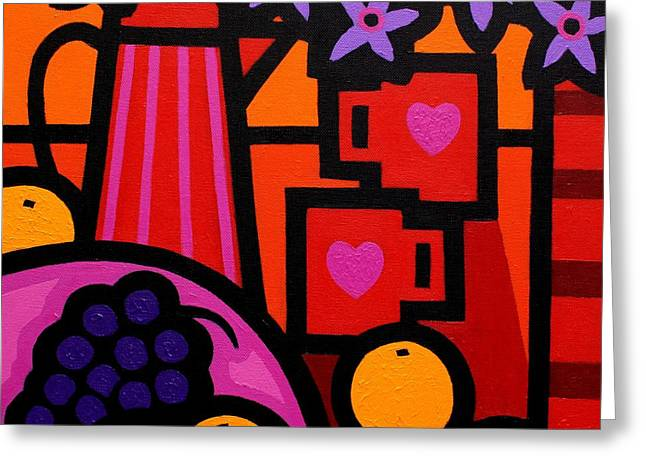 Grape Print Greeting Cards - Still Life With 2 Hearts Greeting Card by John  Nolan