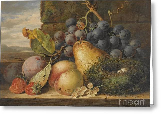 Still Life With A Bird's Nest, A Pear, A Peach, Grapes, Strawberries And Plums Greeting Card by Celestial Images
