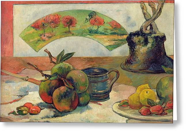 Still Life With Fruit Greeting Cards - Still Life with a Fan Greeting Card by Paul Gauguin