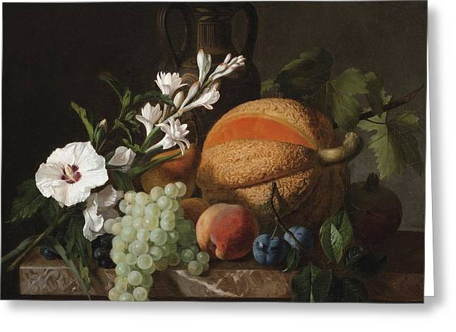 Melon Greeting Cards - Still Life With A Melon Grapes And Flowers Greeting Card by Celestial Images