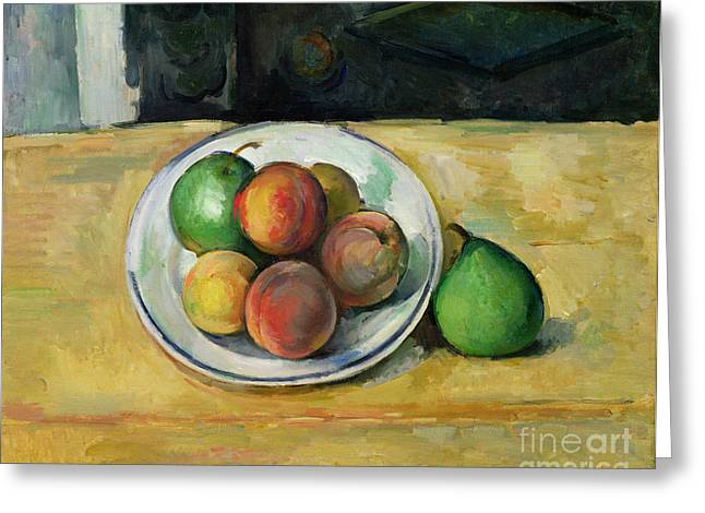 Cloth Greeting Cards - Still Life with a Peach and Two Green Pears Greeting Card by Paul Cezanne