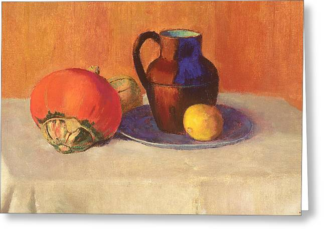 Still Life With Pitcher Paintings Greeting Cards - Still Life with a Pitcher Greeting Card by Odilon Redon