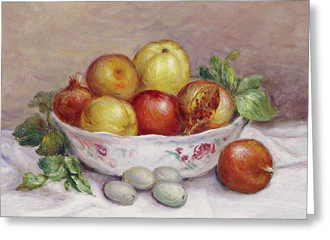 Still Life With A Pomegranate Greeting Card by Pierre Auguste Renoir