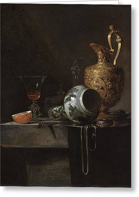 Ewer Paintings Greeting Cards - Still Life with a Porcelain Vase Greeting Card by Celestial Images
