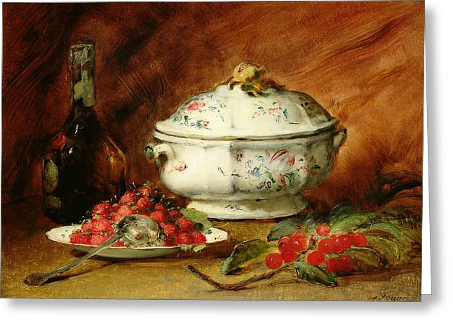 Still Life With Fruit Greeting Cards - Still Life with a Soup Tureen Greeting Card by Guillaume Romain Fouace