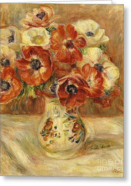 Flower Of Life Greeting Cards - Still Life with Anemones  Greeting Card by Pierre Auguste Renoir