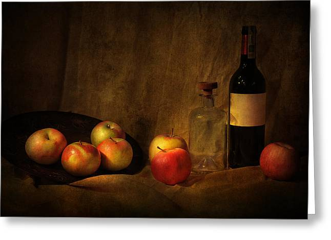 Red Wine Bottle Greeting Cards - Still life with apples and bottles Greeting Card by Jaroslaw Blaminsky