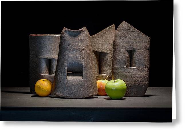 Still Life Ceramics Greeting Cards - Still Life with Apples and Orange Greeting Card by William Sulit