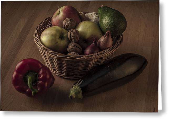 Interior Still Life Digital Greeting Cards - Still Life with Apples and Vegetables in Monochrome Greeting Card by Julis Simo