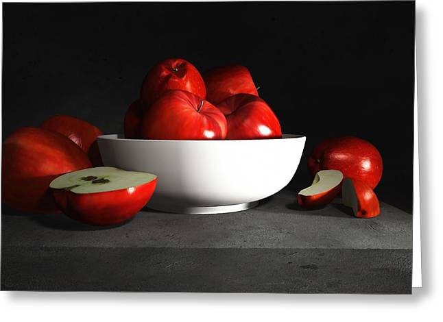 Still Life With Fruit Greeting Cards - Still Life with Apples Greeting Card by Cynthia Decker