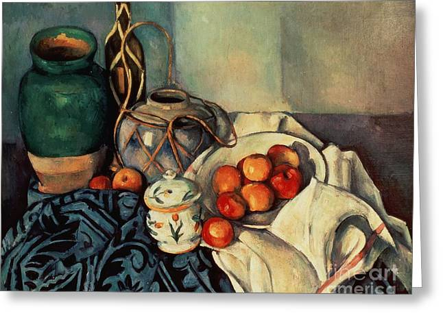 Fruit Still Life Greeting Cards - Still Life with Apples Greeting Card by Paul Cezanne