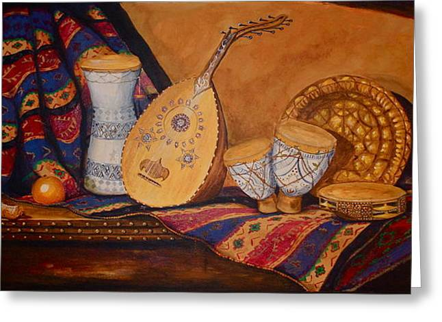 Yvonne Ayoub Greeting Cards - Still Life with Arabian Oud Greeting Card by Yvonne Ayoub