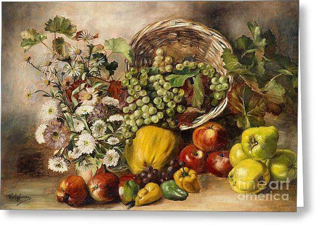 Asters Paintings Greeting Cards - Still Life with Asters and Basket of Fruit Greeting Card by Celestial Images