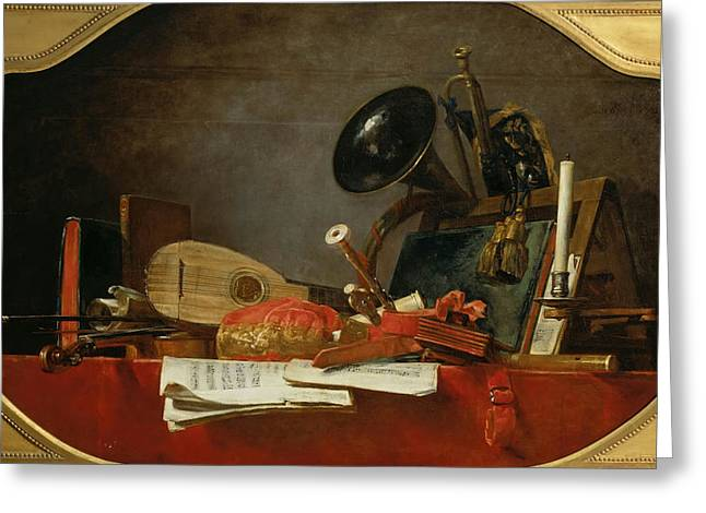 Chardin; Jean-baptiste Simeon (1699-1779) Greeting Cards - Still-life with attributes of music Greeting Card by Celestial Images
