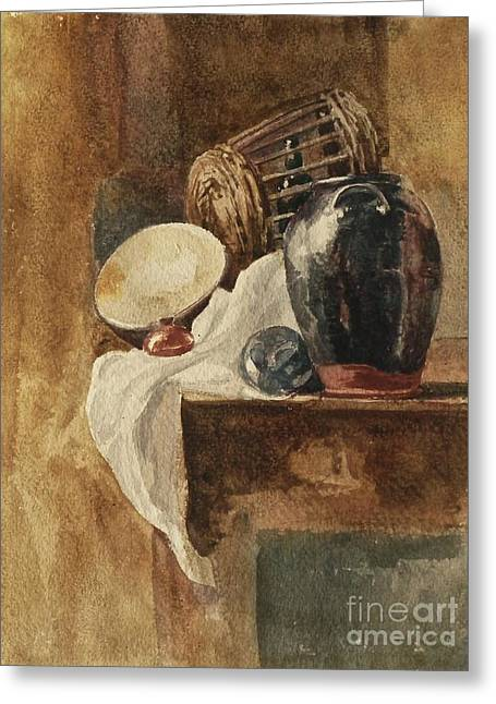 Still Life With Basket And Pitcher Greeting Card by Peter De Wint