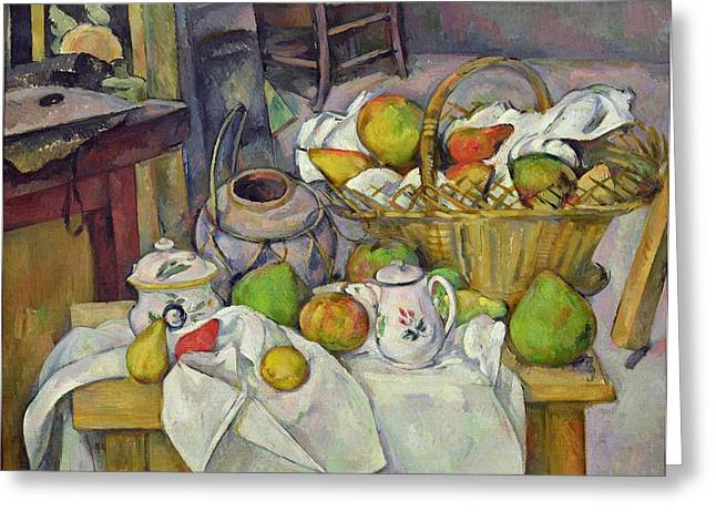 Still Life With Fruit Greeting Cards - Still life with basket Greeting Card by Paul Cezanne