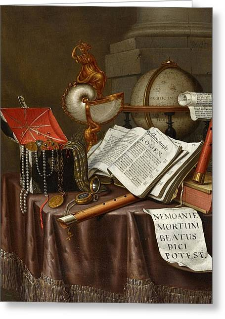 Still Life With Books A Globe Nautilus Chalice Greeting Card by Edwaert Collier