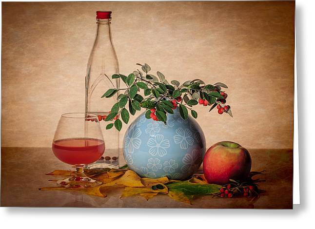 Wine Reflection Art Greeting Cards - Still life with bottle glass and greenery Greeting Card by Greg Brave
