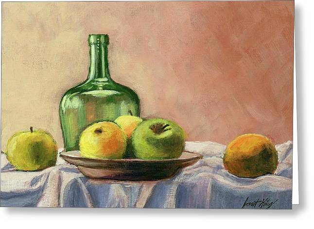 Still Life With Bottle Greeting Card by Janet King
