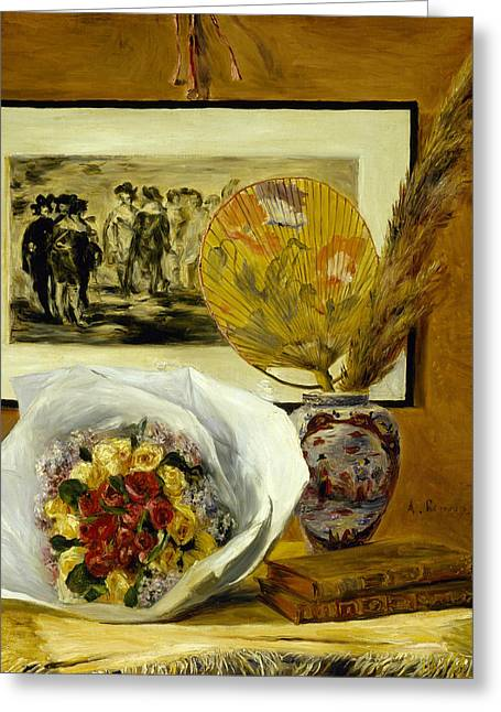 Renoir Greeting Cards - Still Life with Bouquet Greeting Card by Auguste Renoir
