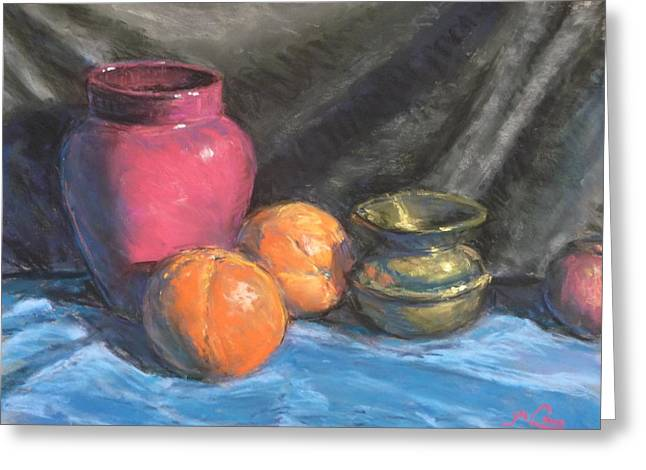 Dine Pastels Greeting Cards - Still life with brass urn Greeting Card by Michael Camp