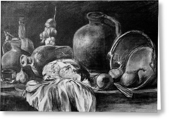 Table Cloth Drawings Greeting Cards - Still Life With Bread Greeting Card by Mikhail Savchenko